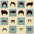 Kolekcja modnisiów retro włosiani style wąsy i Zdjęcie Stock