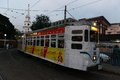 Kolkata tram on the road of during the evening Royalty Free Stock Photo