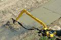 Komatsu excavator on construction site Royalty Free Stock Images