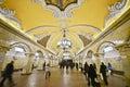 Komsomolskaya Metrostation, Moskau Stockfoto