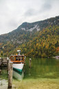 Konigssee lake germany an electric passenger ship on Royalty Free Stock Image