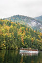 Konigssee lake germany an electric passenger ship on Stock Photography