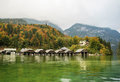 Konigssee lake germany the is a natural surrounded by high mountains in the extreme southeast of bavaria near the border with Royalty Free Stock Photography