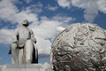Konstantin tsiolkovsky monument moscow russia the precursor of astronautics and celestial globes near of sovjet space flight Stock Photography