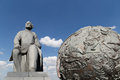 Konstantin tsiolkovsky monument moscow russia the precursor of astronautics and celestial globes near of sovjet space flight Royalty Free Stock Photo