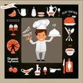 Konzept kochen lächelnden chef showing ok sign und lebensmittel dienend Lizenzfreie Stockfotos