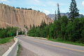 Kootenay highway british columbia canada dutch creek bridge badlands and hoodoos Stock Photos