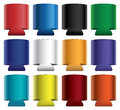 Koozies collapsible illustration of blank koozie with aluminum can in twelve different colors great for mock ups Royalty Free Stock Photo