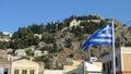 Koppla av sikter av den grekiska ön av foto är färgharmoni perfekt Royaltyfri Fotografi