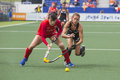 Korea beats new zealand during the hockey world cup hague netherlands june zealander webster is trying to take ball from korean Stock Photos