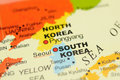 Korea on map Royalty Free Stock Photo