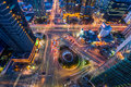 Korea,Night traffic speeds through an intersection in Seoul,Kore Royalty Free Stock Photo