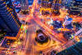 Korea,Night traffic speeds through an intersection in Seoul,Kore Royalty Free Stock Photo