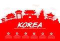 Korea travel landmarks vector and illustration Royalty Free Stock Image