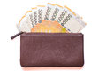 Korea won currency notes in leather wallet Stock Photography