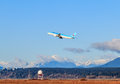 Korean air airplane vancouver canada – january takes off in vancouver international airport lines co is both the flag Royalty Free Stock Photos