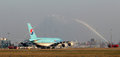 A of korean air prague march airbus passes through the water salut at prg airport on march is flag carrier and the largest Royalty Free Stock Photography