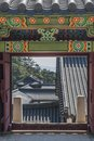 Korean architecture, door entrance to the temple Royalty Free Stock Photo