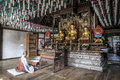 Korean Buddhist temple interior Royalty Free Stock Photo