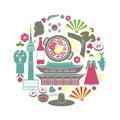 Korean customs and landmarks in one circle illustration