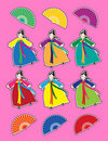 Korean dancer stickers Royalty Free Stock Images