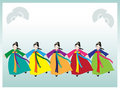 Korean dancers Stock Photo