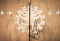 Korean door detail from a in the bukchon hanok village of seoul south korea Stock Images