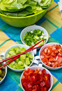 Korean food bowls with vegetables Stock Photography