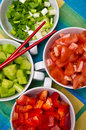 Korean food bowls with vegetables Stock Photos