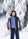 Korean Girl in the Snow Royalty Free Stock Images