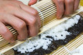 Korean kimbap how to make Stock Photography