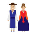 Korean national dress illustration of costume on white background Royalty Free Stock Images