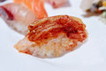 Korean style sushi nigiri with kimchi Royalty Free Stock Photo