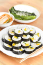 Korean sushi with kimchi and vegetables Royalty Free Stock Photography