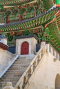 Korean tradition wooden gate in south korea Royalty Free Stock Photography
