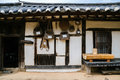 Korean traditional architecture and agricultural implements Royalty Free Stock Photo