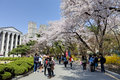 Korean university campus seoul korea april th kyung hee is a one of the most famous in south korea it is comprehensive and private Royalty Free Stock Photo