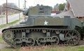 Korean war era military tank outside of a veterans of foreign wars facility in virginia united states Stock Photography