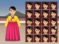 Korean Woman Cartoon Emotion faces Vector Illustration Royalty Free Stock Photo