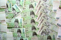 Korean won multiple exposure of bank notes Stock Photo