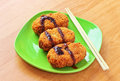 Korokke japanese potato croquettes with tonkatsu sauce Royalty Free Stock Photography