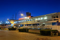 Kosciuszko square at night representation places in gdynia on the background many restaurants and bars on april in gdynia poland Royalty Free Stock Photo