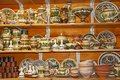 Pottery on the shelves of the gift shop