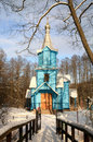 Koterka, blue Orthodox Church in Poland by winter. Royalty Free Stock Photos