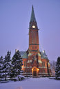 Kotka Cathedral at twilight Stock Image