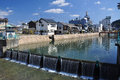 Kotohira, Shikoku, Japan. View of the city riverfront. Royalty Free Stock Photo