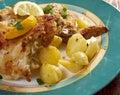 Kotopoulo lemonato greek lemon chicken with crispy potatoes Royalty Free Stock Images