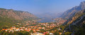 Kotor bay montenegro mountains and red roofs Royalty Free Stock Images