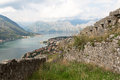 Kotor bay of montenegro view from the old town Royalty Free Stock Image