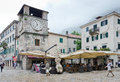 Kotor clock tower montenegro may with the pyramid a kind of pillory th on may in montenegro Royalty Free Stock Photos